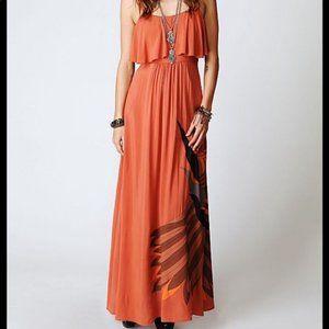 Free People Orange Flock of Birds Maxi Dress S